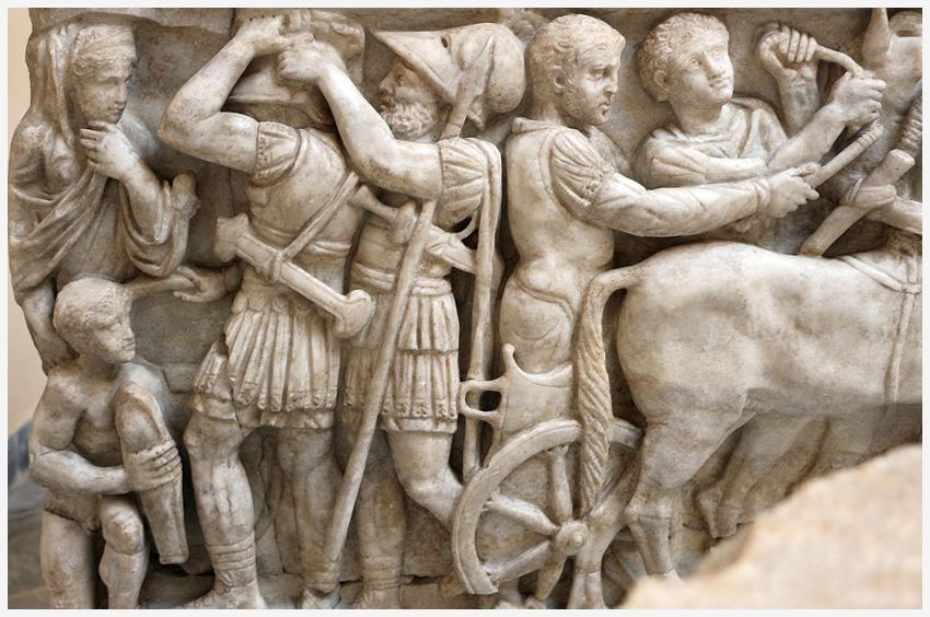 Sarcofago con scene dell'iliade, 160 dc, dalla Necropoli di Pianabella